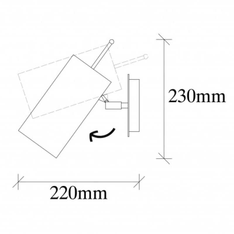 Moderne wandlamp zwart metaal - afmetingen