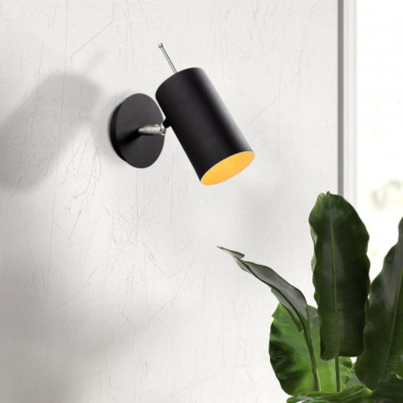 Moderne wandlamp zwart metaal - sfeerfoto