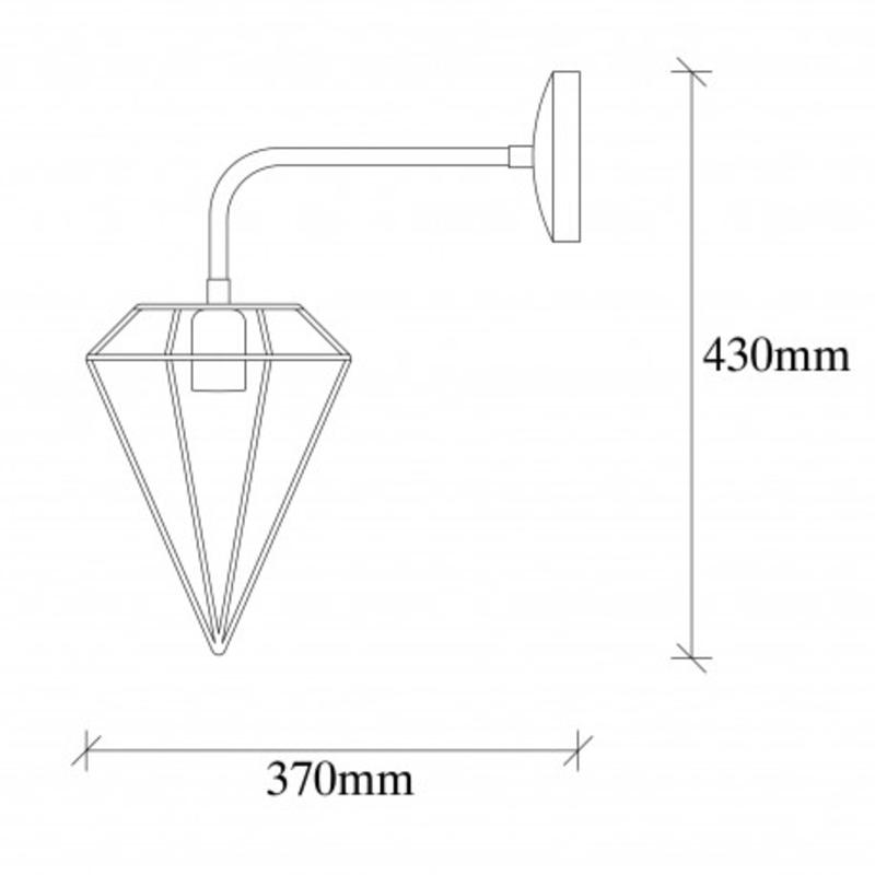 Industriële wandlamp diamond zwart E27 - afmetingen