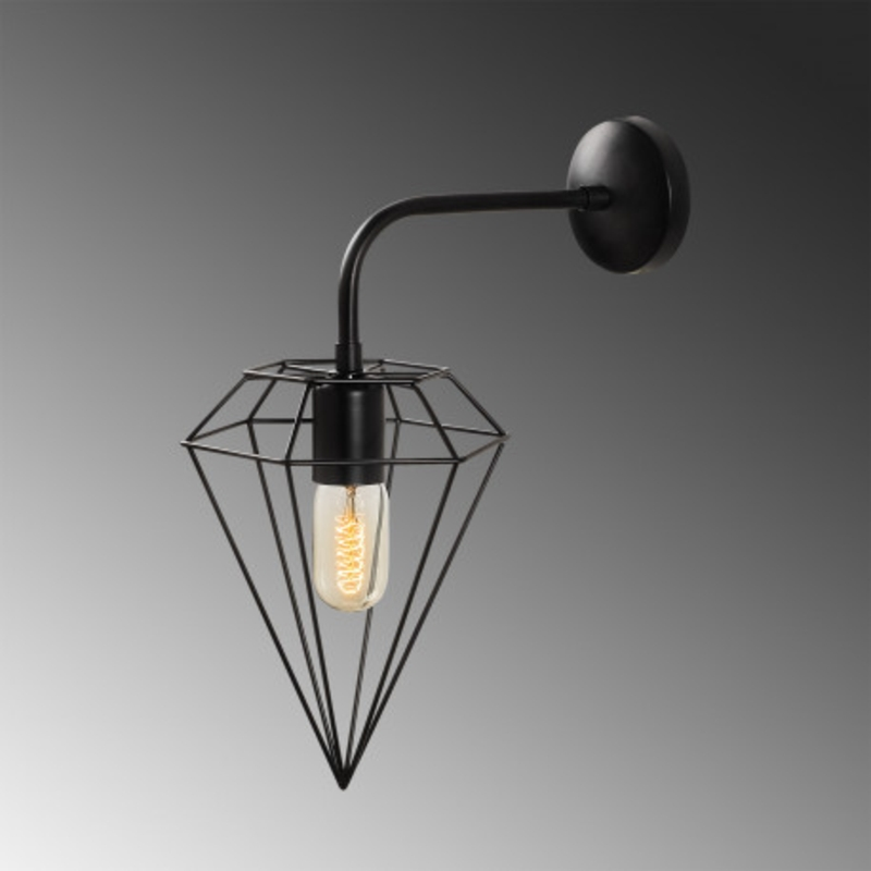 Industriële wandlamp diamond zwart E27