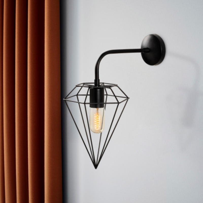 Industriële wandlamp diamond zwart E27 - sfeerfoto