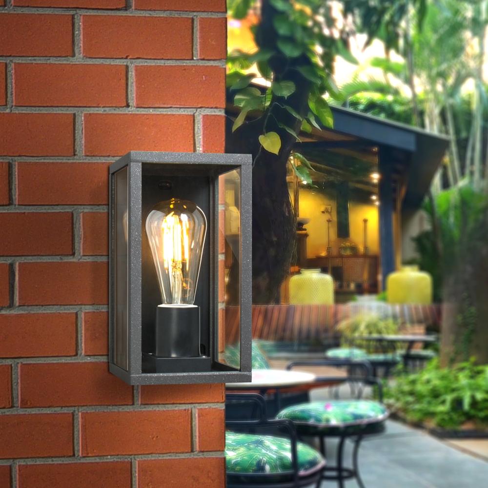 Moderne Wandlamp buiten - muurlamp met E27 fitting - Antraciet met glas - metaal - sfeerfoto