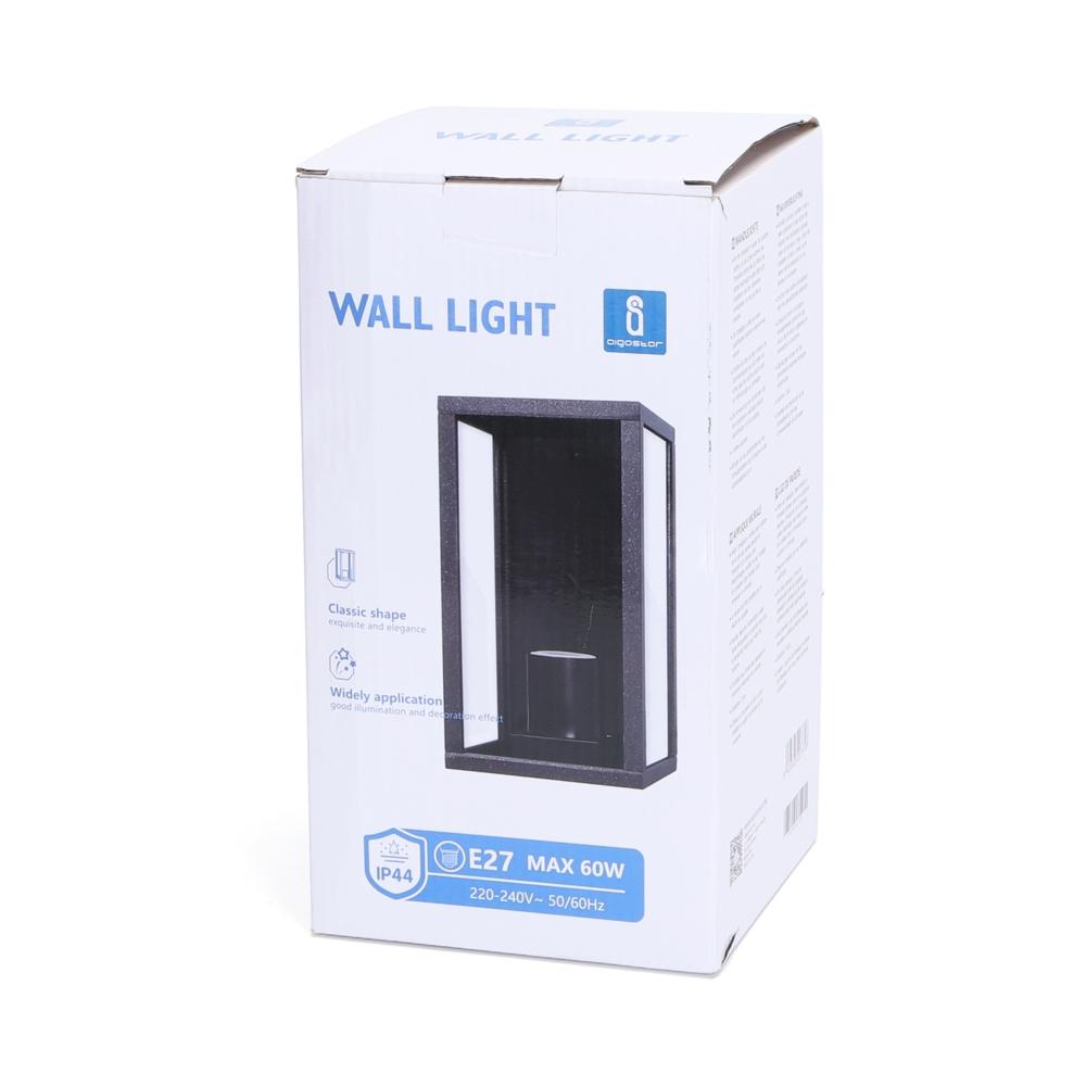 Moderne Wandlamp buiten - muurlamp met E27 fitting - Antraciet met glas - metaal - verpakking