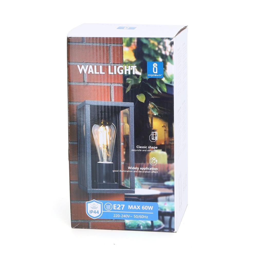 Moderne Wandlamp buiten - muurlamp met E27 fitting - Antraciet met glas - metaal - voorkant doos