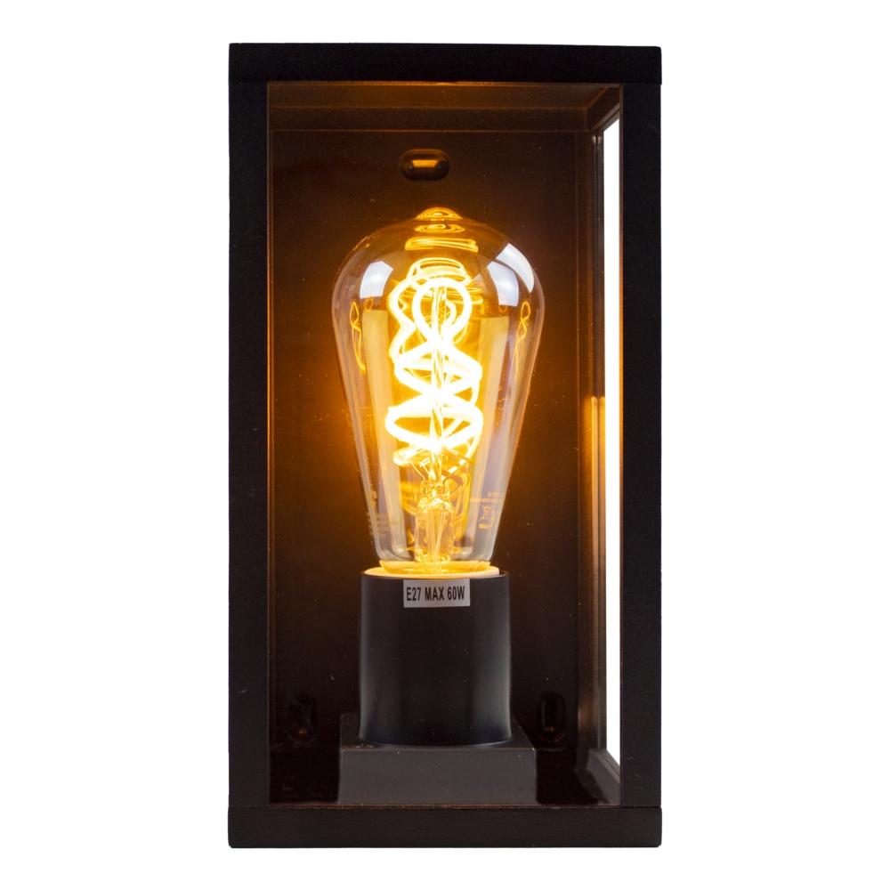 Moderne Wandlamp buiten - muurlamp met E27 fitting - Antraciet met glas - metaal - warm wit