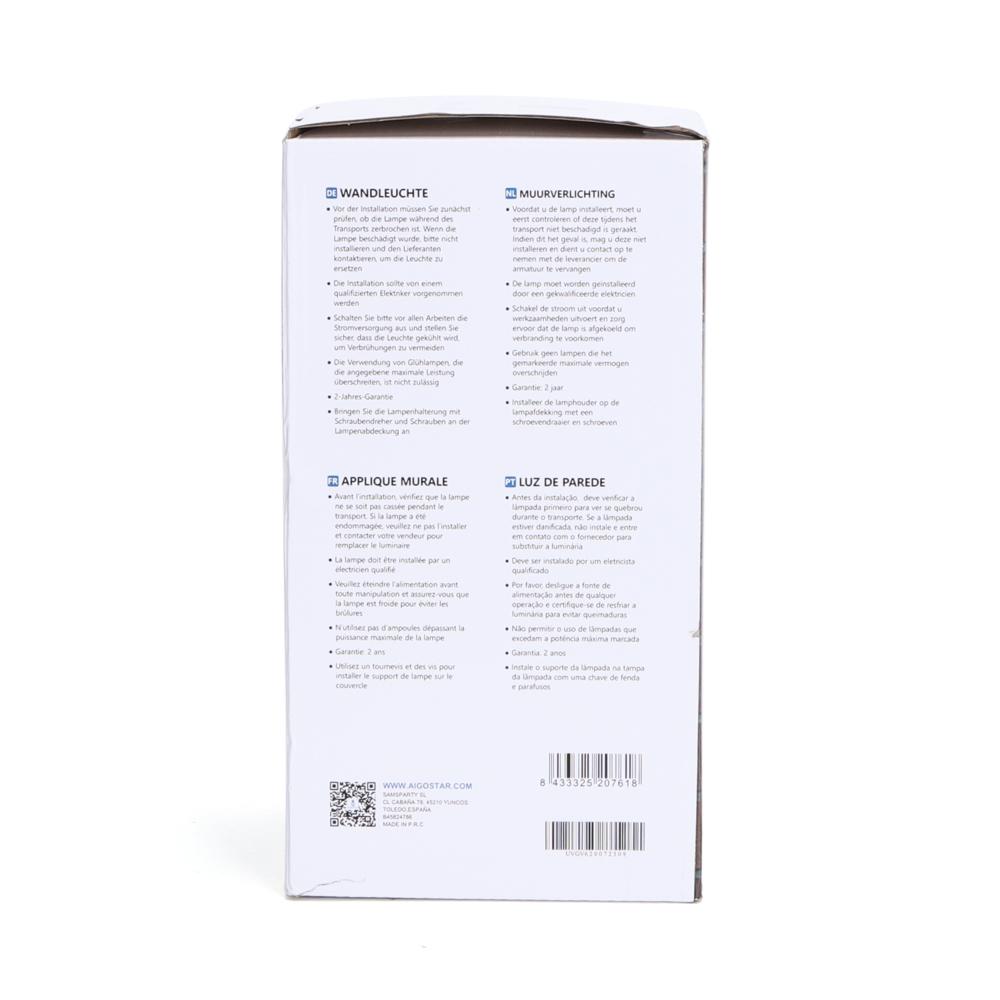 Moderne Wandlamp buiten - muurlamp met E27 fitting - Antraciet met glas - metaal - zijkant doos
