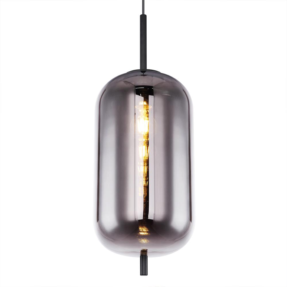 Moderne hanglamp smoke glas zwart langwerpig E27 fitting - lampenkap