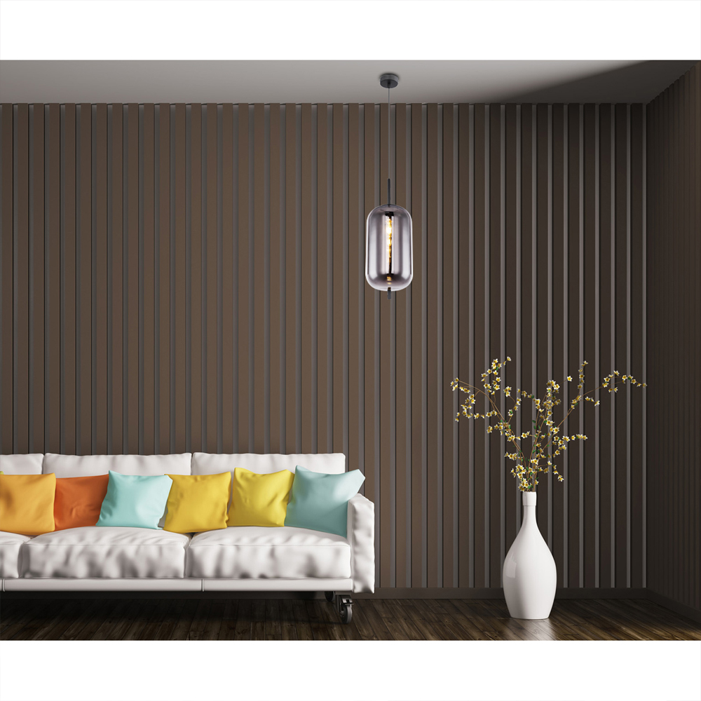 Moderne hanglamp smoke glas zwart langwerpig E27 fitting - sfeerfoto