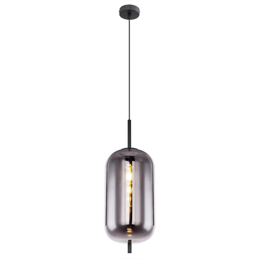 Moderne hanglamp smoke glas zwart langwerpig E27 fitting - vooraanzicht lamp aan