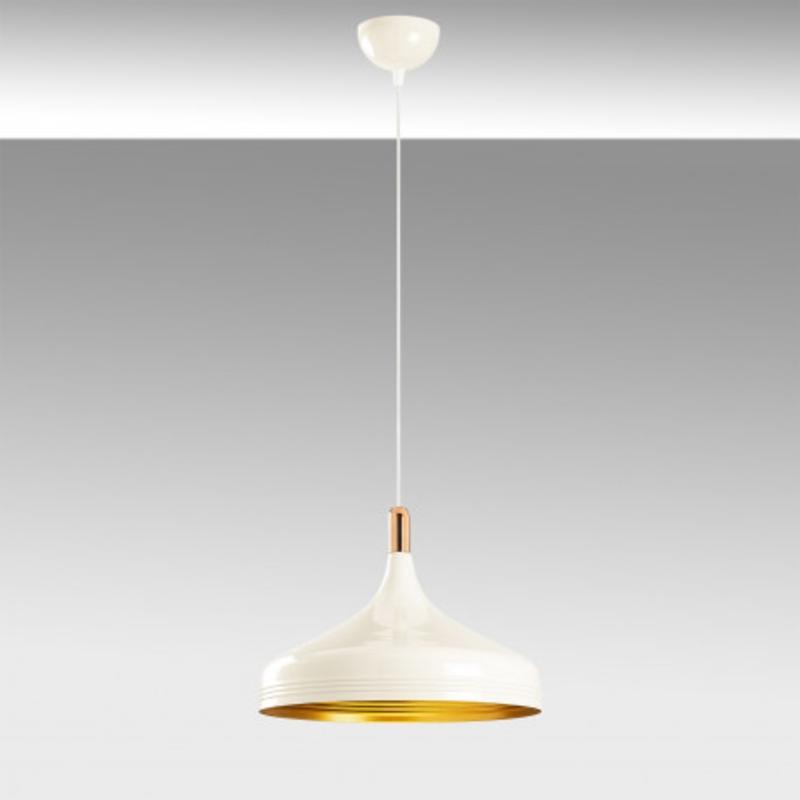 Witte moderne hanglamp 36cm met gouden accenten grijze achtergrond