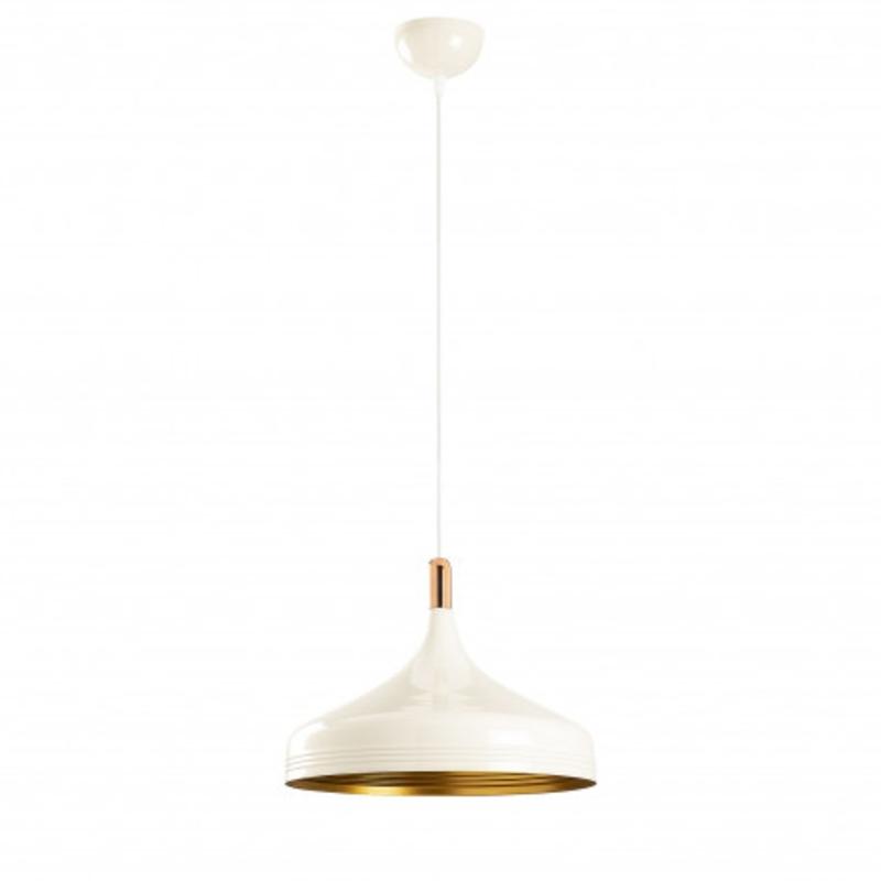 Witte moderne hanglamp 36cm met gouden accenten