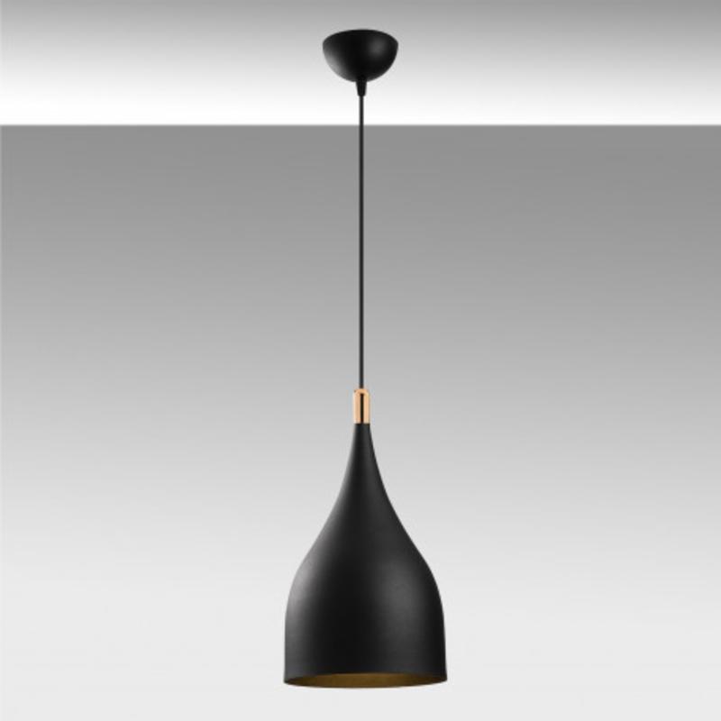 Moderne hanglamp fles vorm zwart met goud 25cm