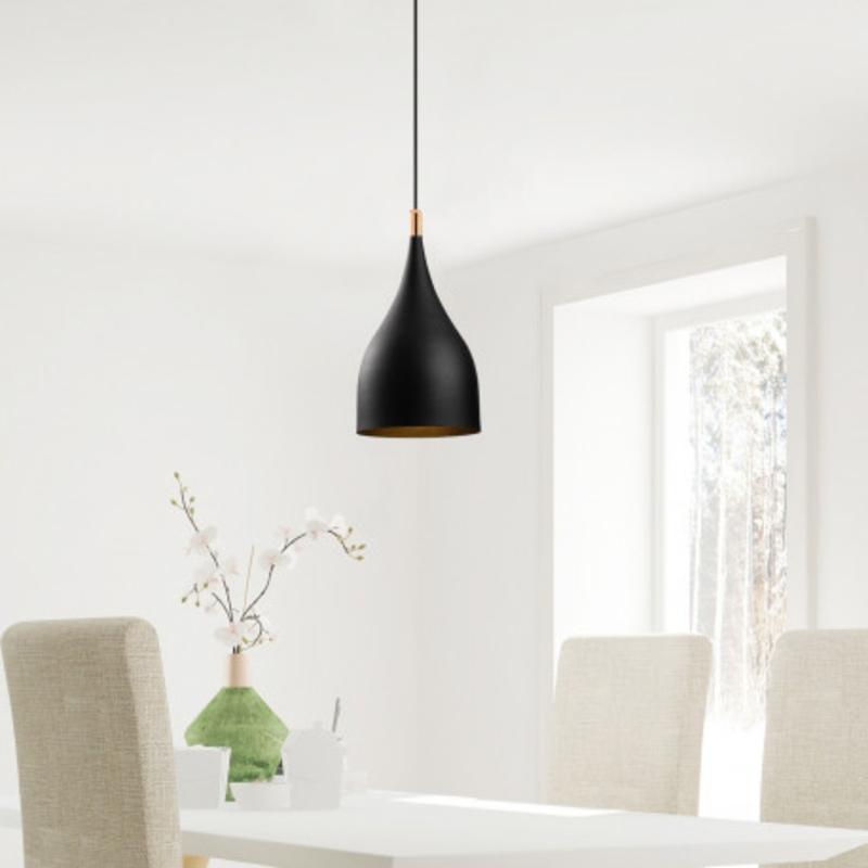 Moderne hanglamp fles vorm zwart met goud 25cm sfeerfoto