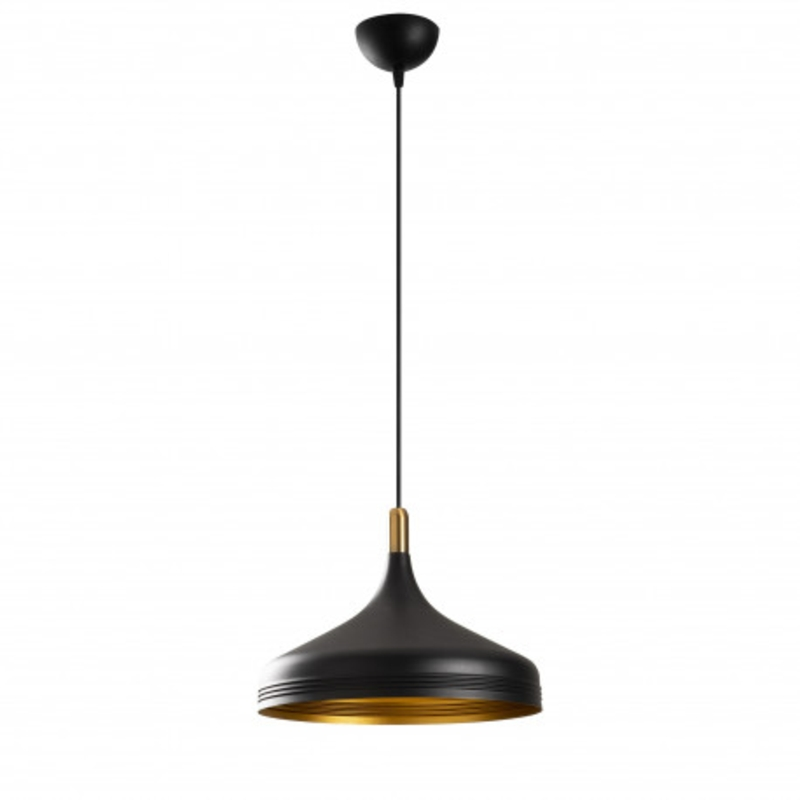 Moderne hanglamp enkel zwart met gouden lampenkap 36cm