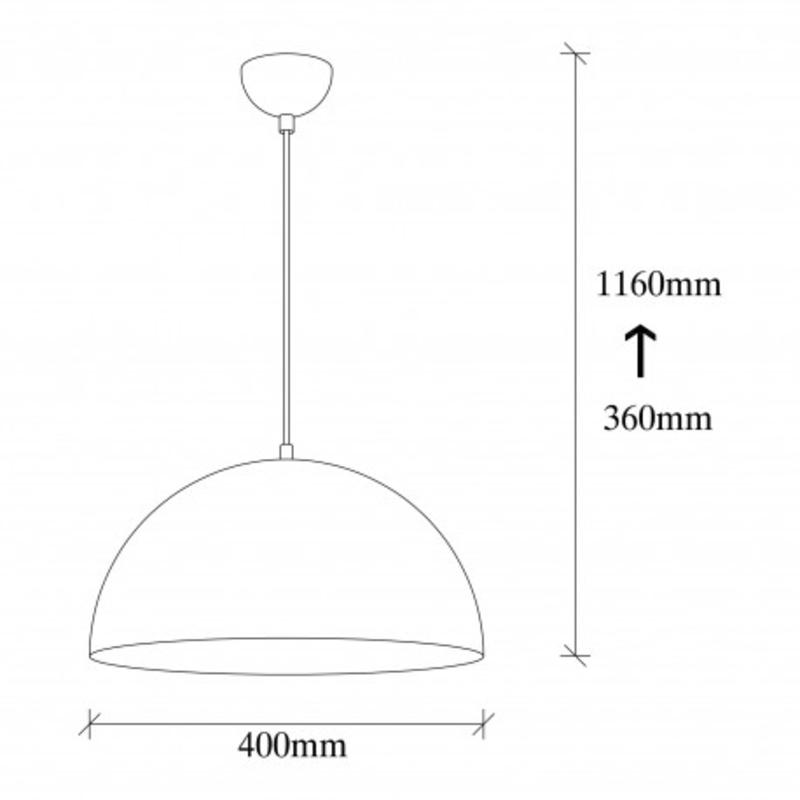 Moderne hanglamp rond zwart met goud 40cm afmetingen