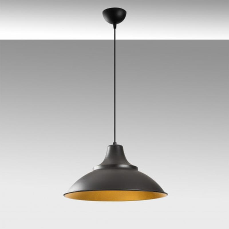 Moderne hanglamp zwart met gouden lampenkap 44cm rond