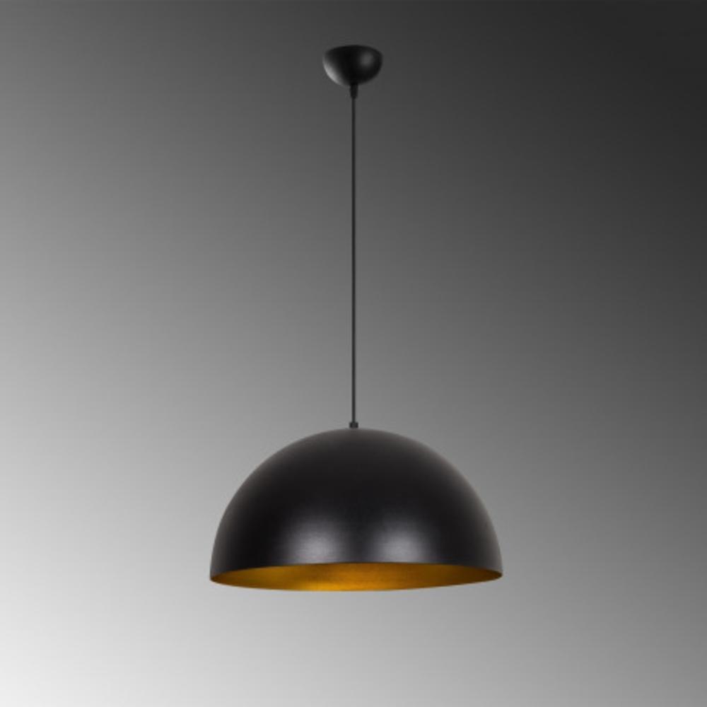 Hanglamp zwart modern goud 1 x E27 fitting - grijze achtergrond