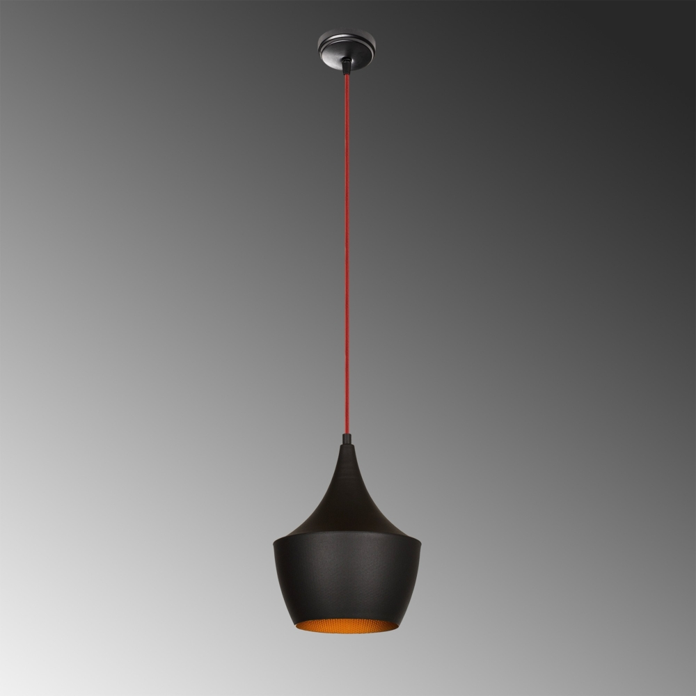 Moderne hanglamp zwart goud - E27 fitting - 23 cm - Luanda - sfeer