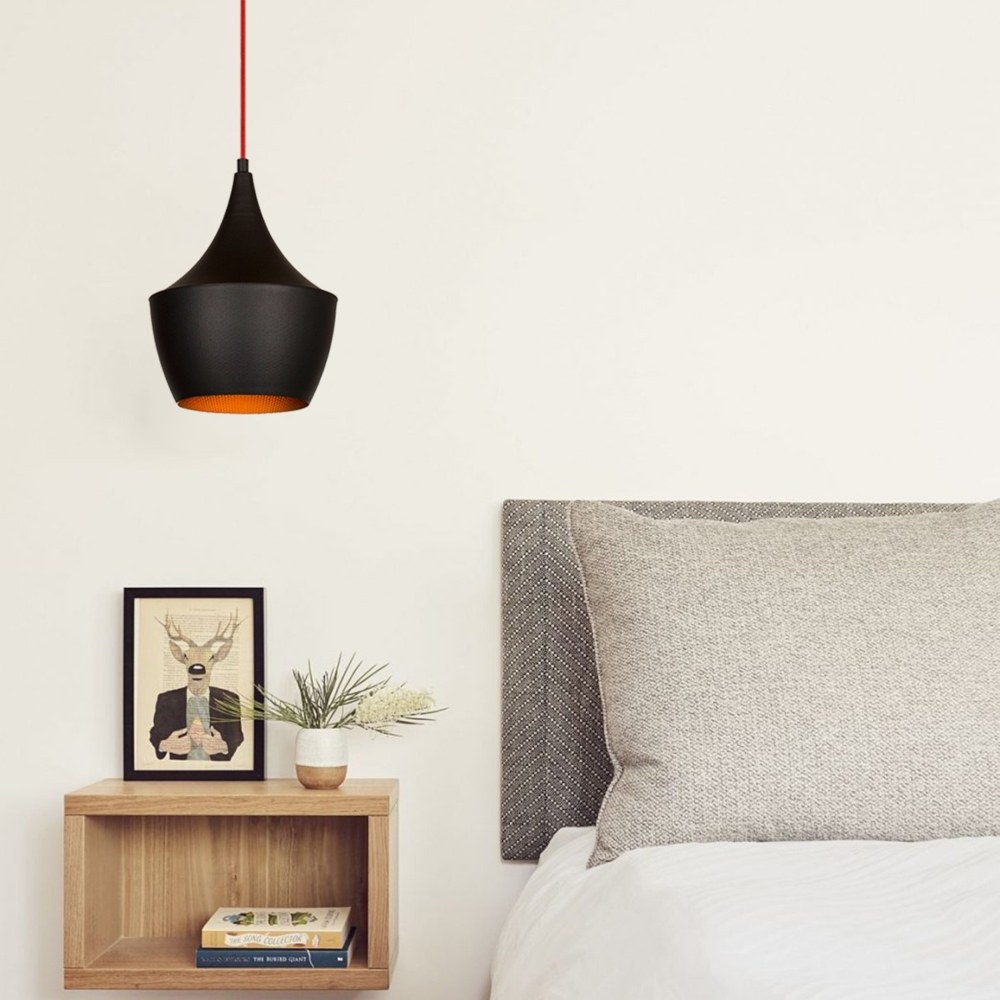 Moderne hanglamp zwart goud - E27 fitting - 23 cm - Luanda - sfeerfoto