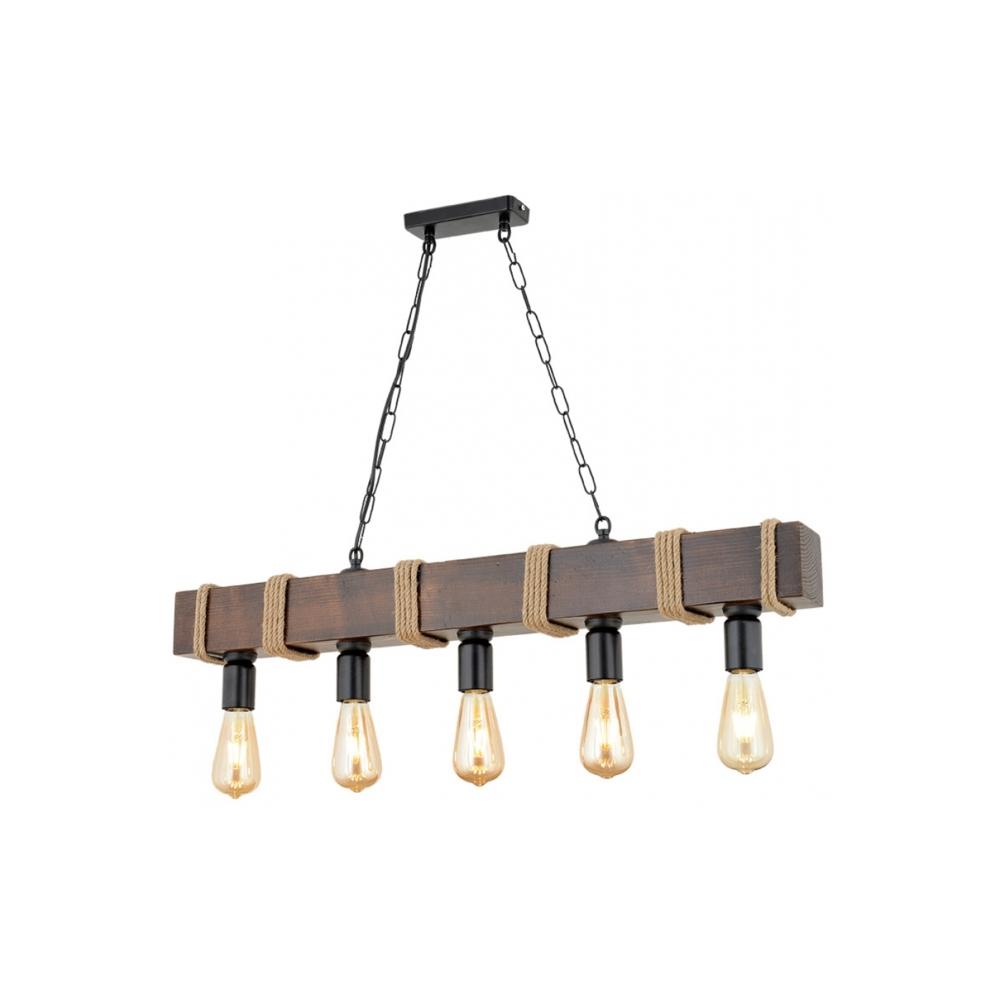 Hanglamp modern metaal hout 5 x E27 fitting - vooraanzicht