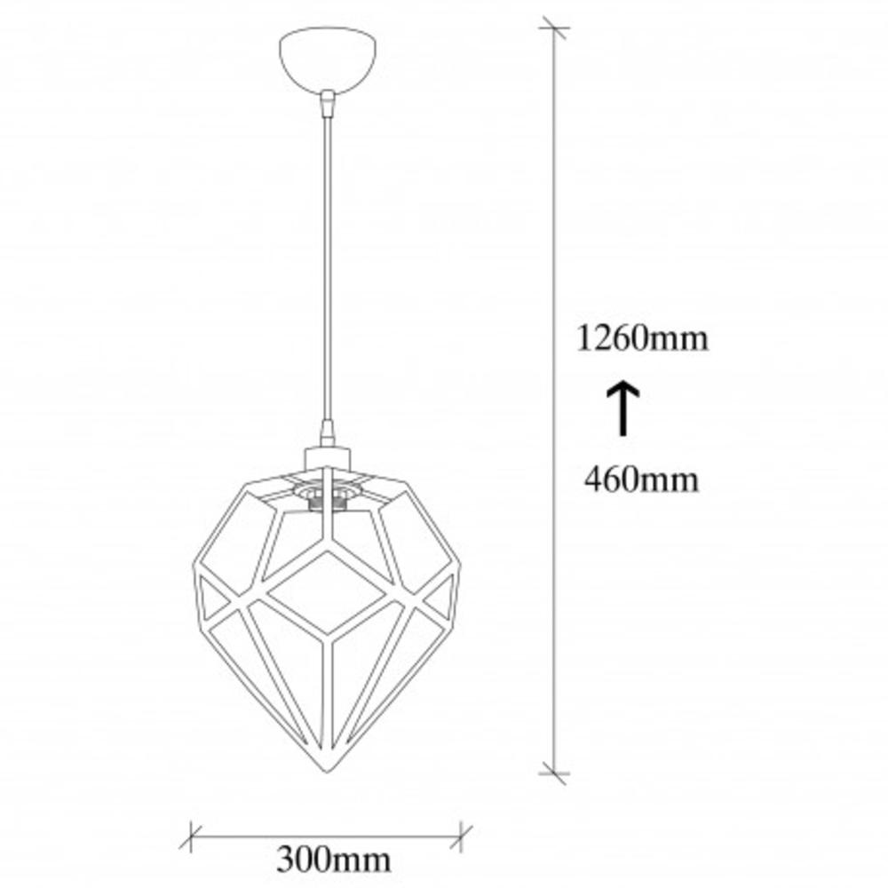 Hanglamp modern zwart metaal 1 x E27 fitting - afmetingen