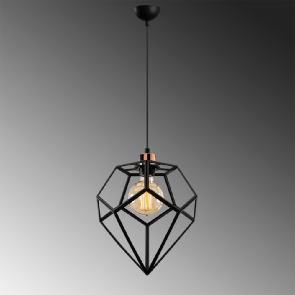 Hanglamp modern zwart metaal 1 x E27 fitting - grijze achtergrond