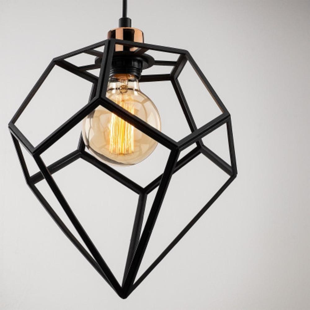 Hanglamp modern zwart metaal 1 x E27 fitting - lamp dichtbij