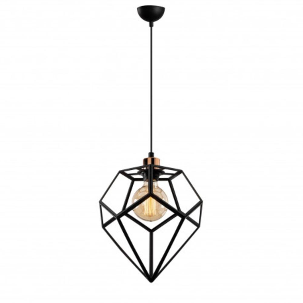 Hanglamp modern zwart metaal 1 x E27 fitting - vooraanzicht lamp aan
