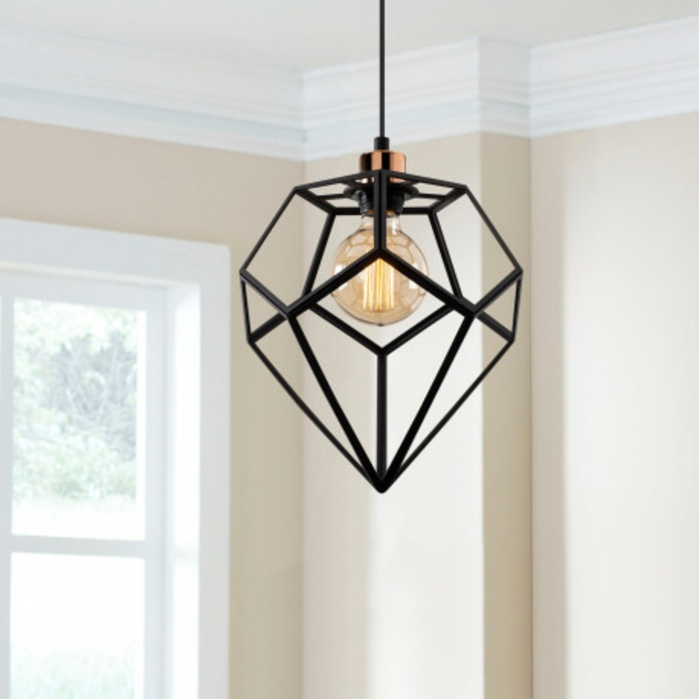 Hanglamp modern zwart metaal 1 x E27 fitting - sfeerfoto