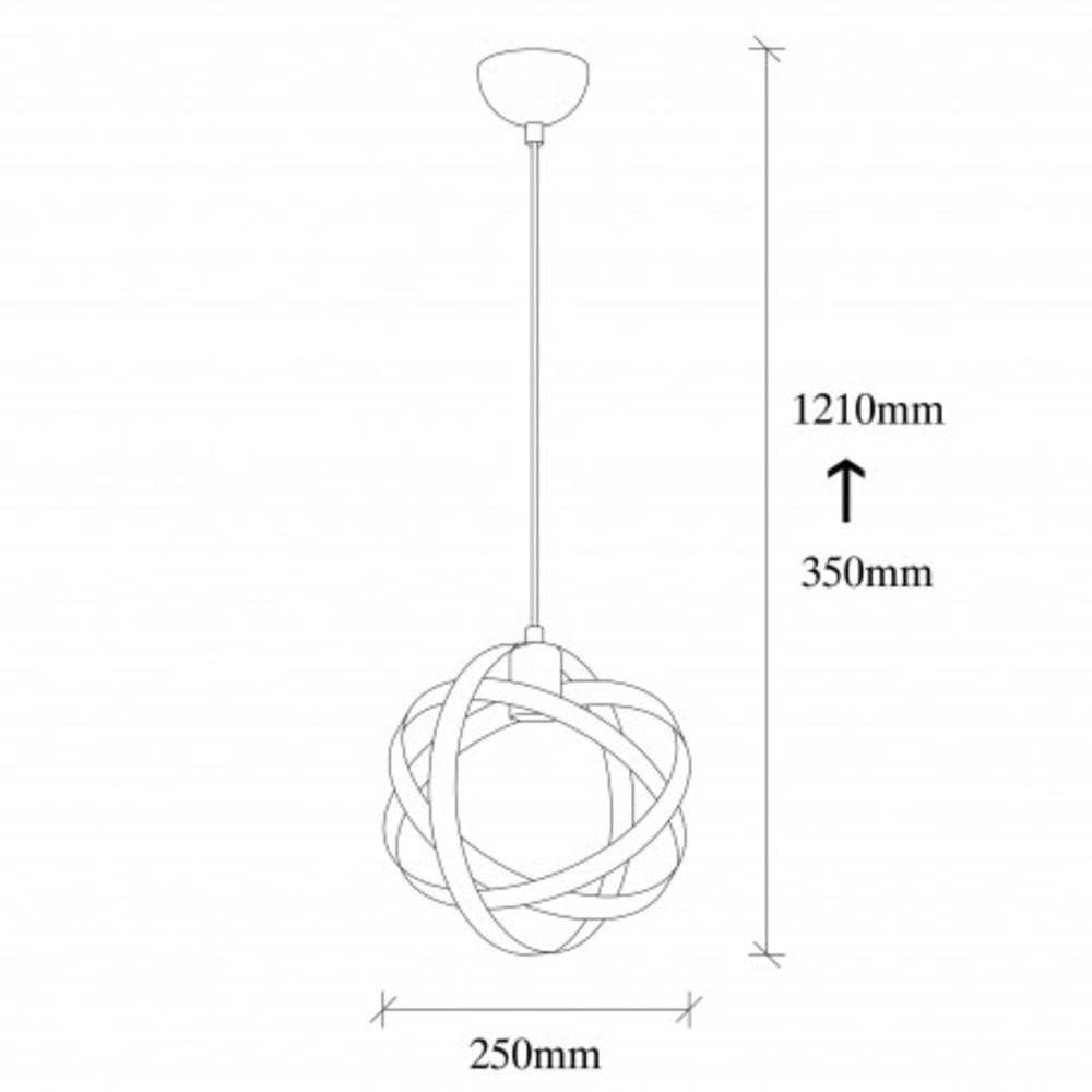 Ronde moderne hanglamp 1 x E27 fitting - afmetingen