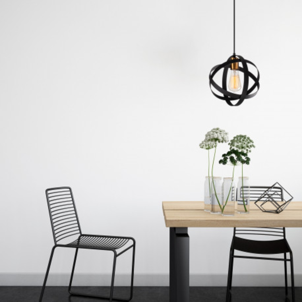 Ronde moderne hanglamp 1 x E27 fitting - sfeerfoto inrichting