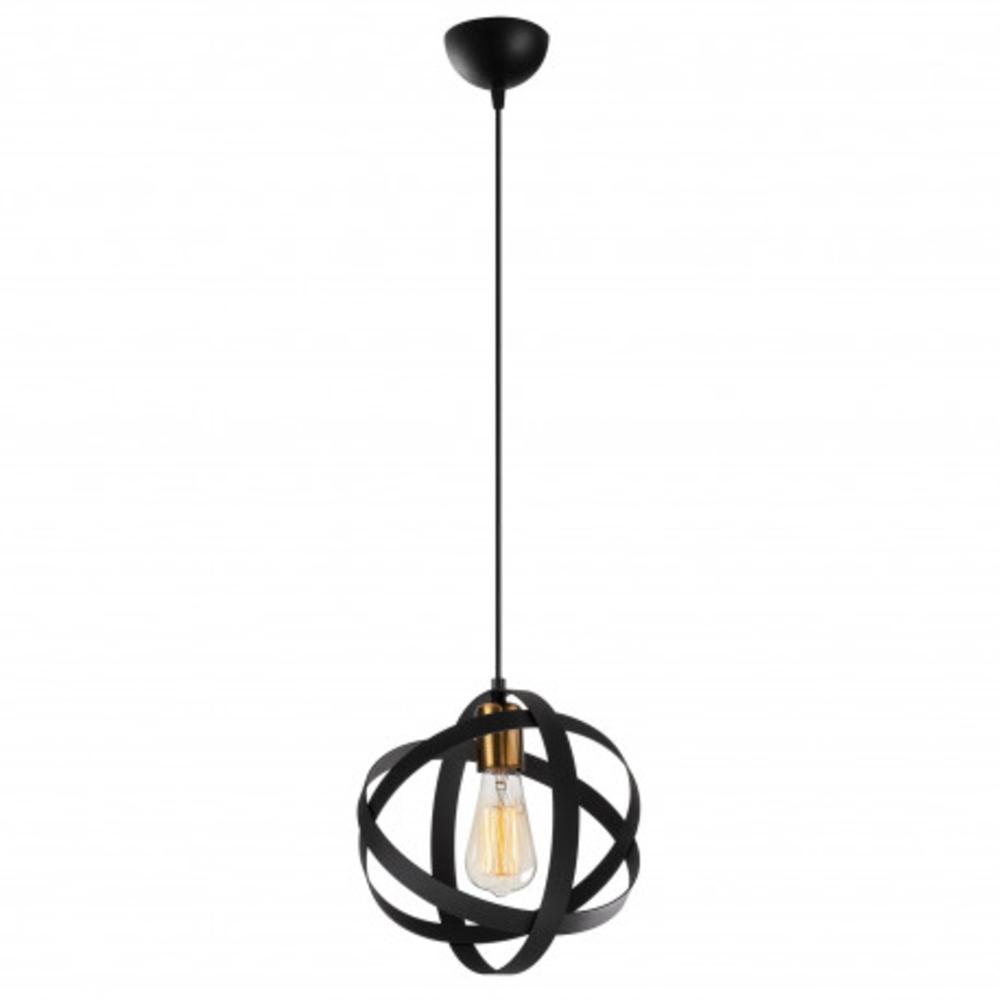 Ronde moderne hanglamp 1 x E27 fitting - vooraanzicht lamp aan