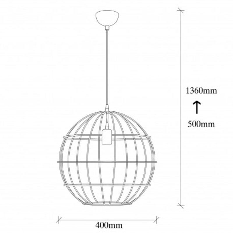 Moderne stalen hanglamp zwart 40cm rond afmetingen