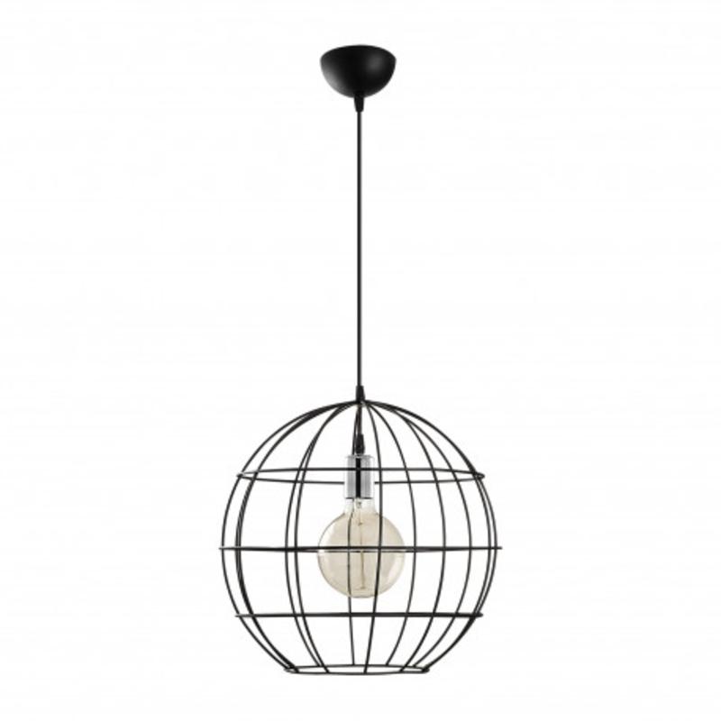 Moderne stalen hanglamp zwart 40cm rond