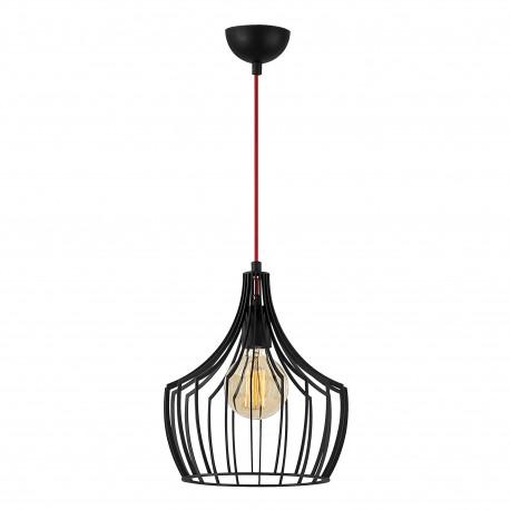 Moderne hanglamp industrieel met E27 fitting zwart metaal - vooraanzicht lamp aan