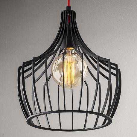 Moderne hanglamp industrieel met E27 fitting zwart metaal - lampenkap