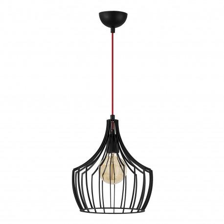 Moderne hanglamp industrieel met E27 fitting zwart metaal - vooraanzicht lamp uit