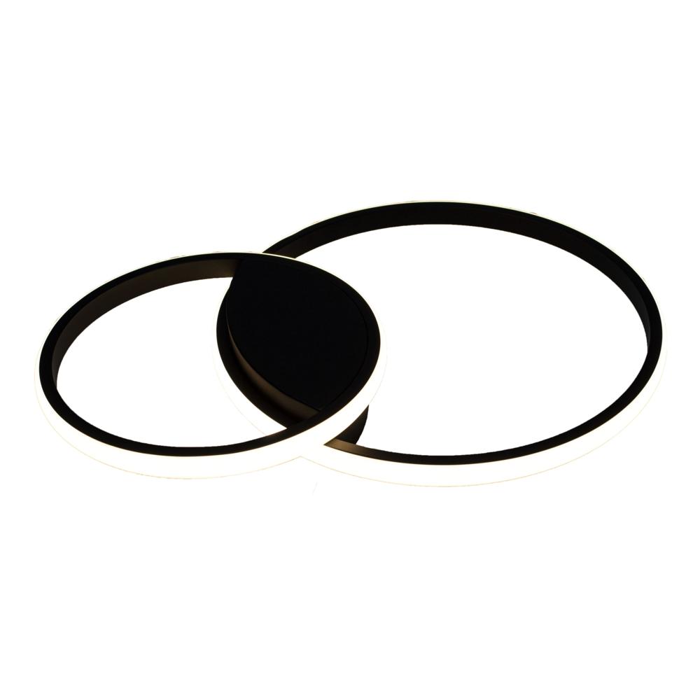 Moderne plafondlamp 2 ringen - rond - dimbaar - 60 watt - CCT kleurwissel - vooraanzicht