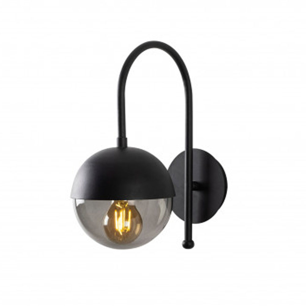 LED wandlamp zwart gerookt glas E27 fitting - vooraanzicht lamp aan