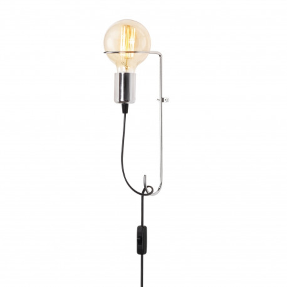 Wandlamp metaal 15 centimeter modern 1 x E27 fitting - zijaanzicht lamp aan