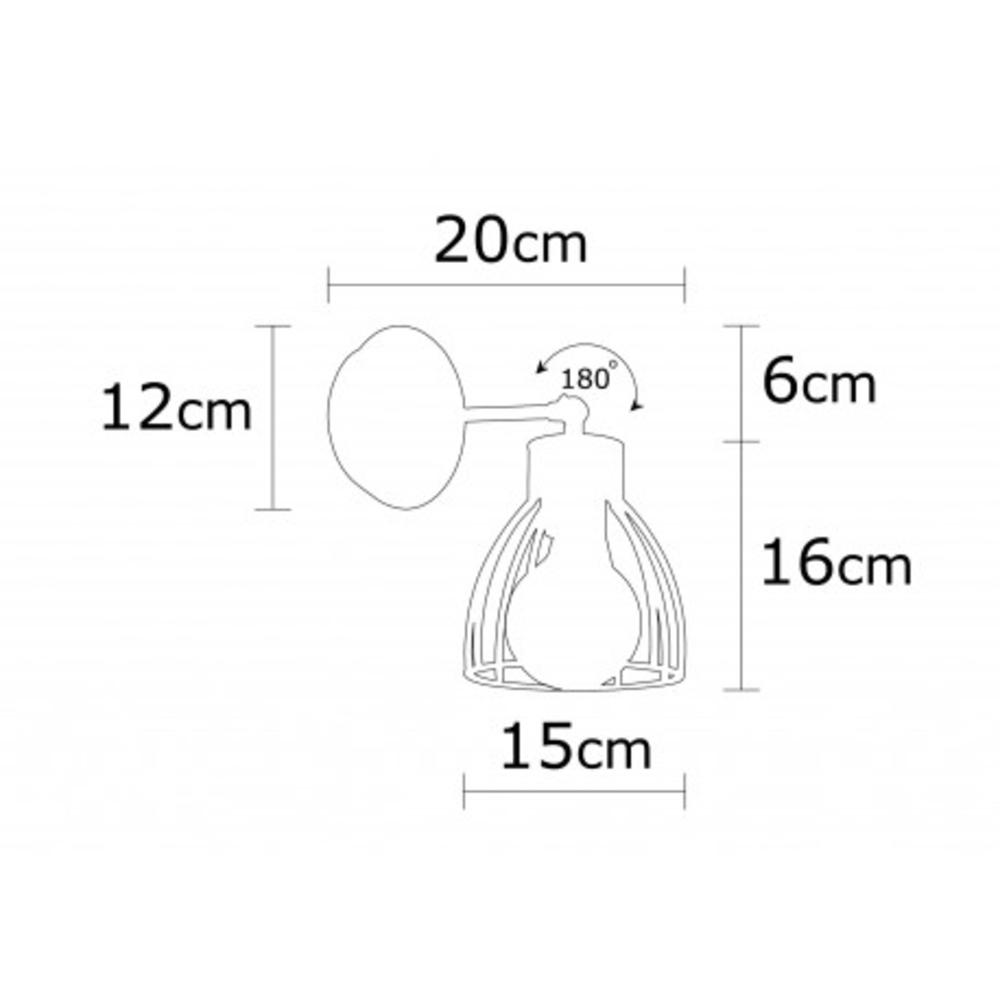 Wandlamp modern zwart brons 1 x E27 fitting - afmetingen