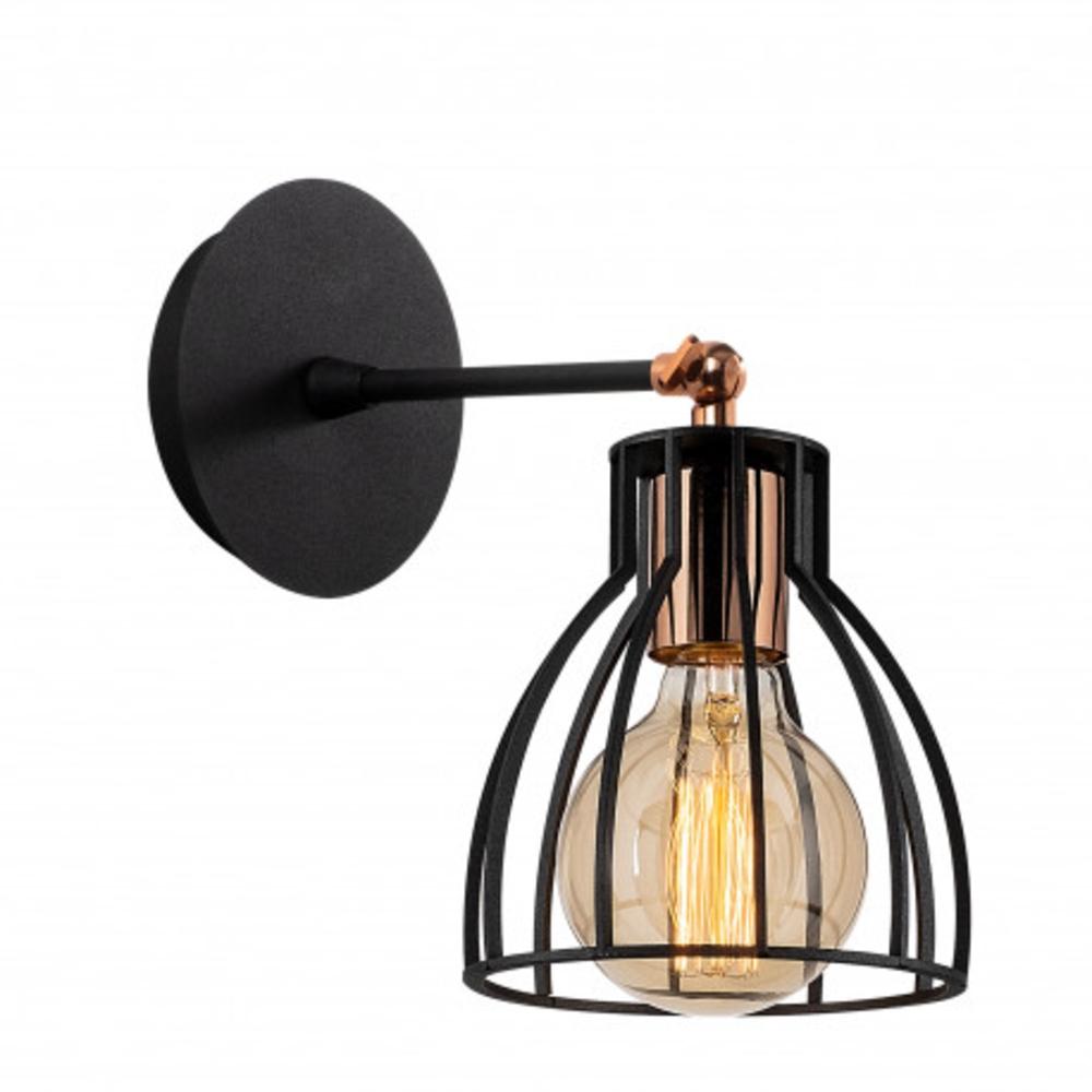 Wandlamp modern zwart brons 1 x E27 fitting - zijaanzicht
