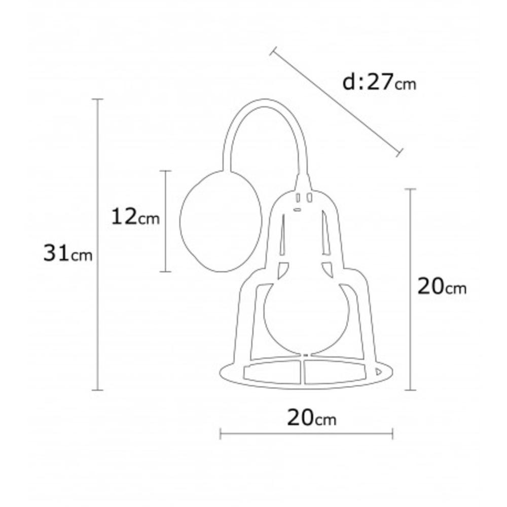Wandlamp bronze zwart modern 1 x E27 fitting - afmetingen