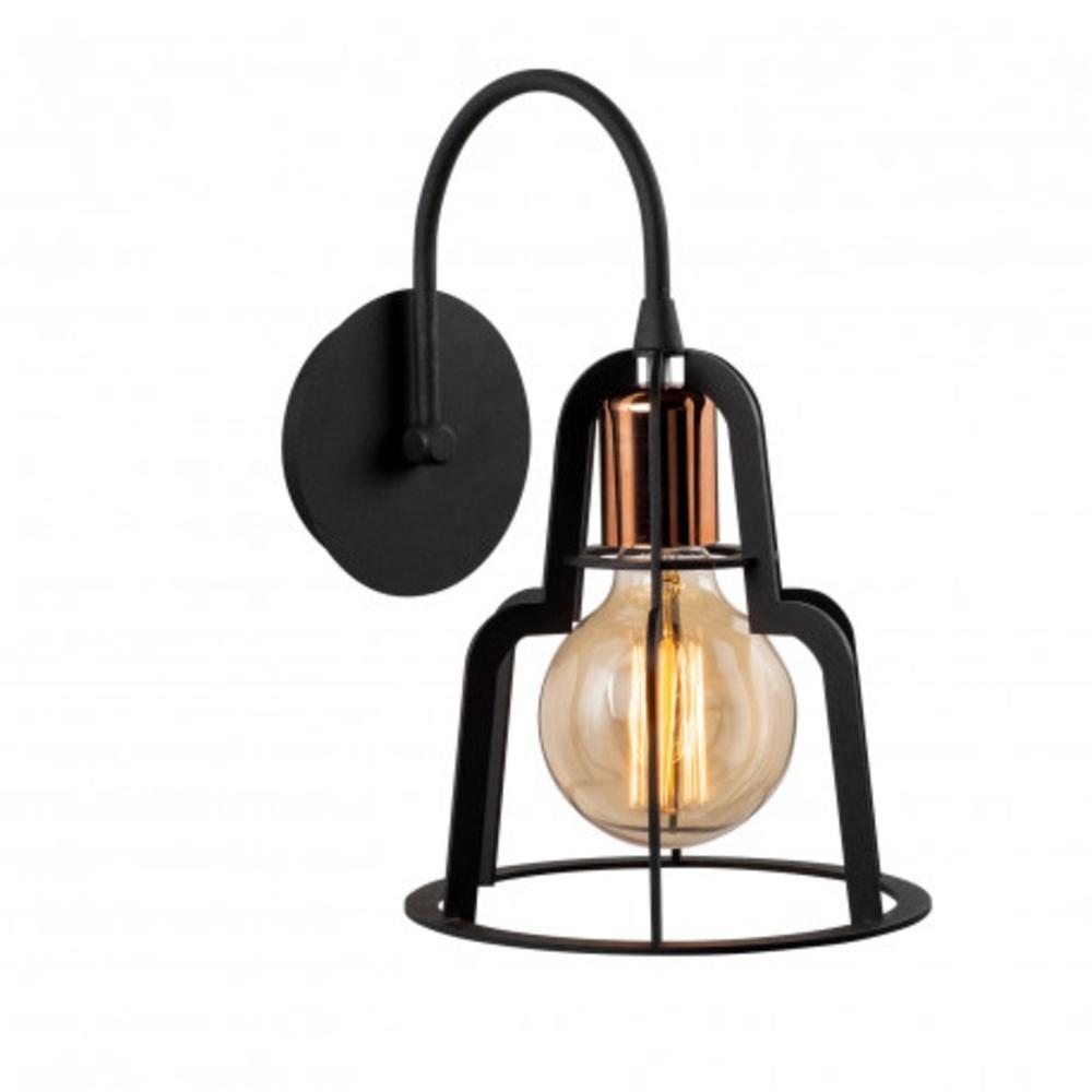 Wandlamp bronze zwart modern 1 x E27 fitting - lamp aan