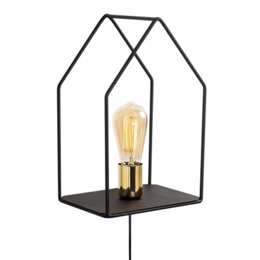 Wandlamp modern zwart goud 1 x E27 fitting - vooraanzicht lamp aan