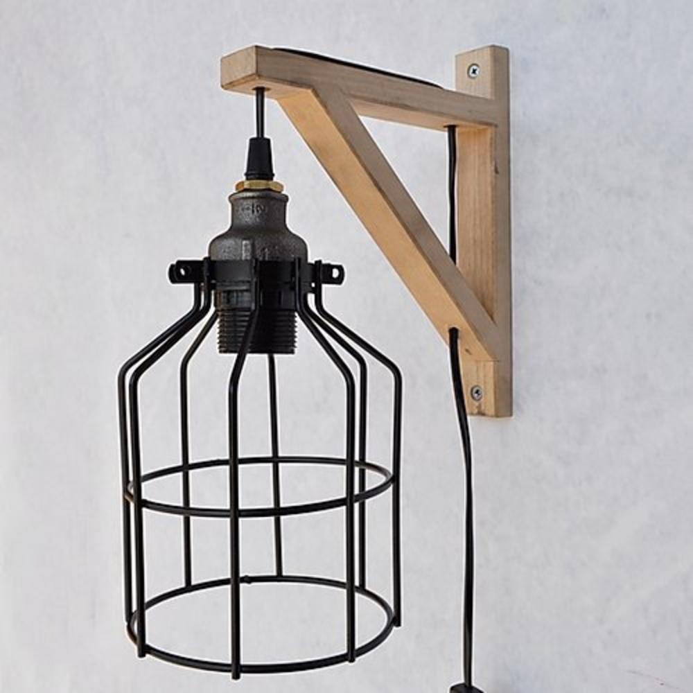 Moderne wandlamp hout zwart 1 x E27 fitting - vooraanzicht