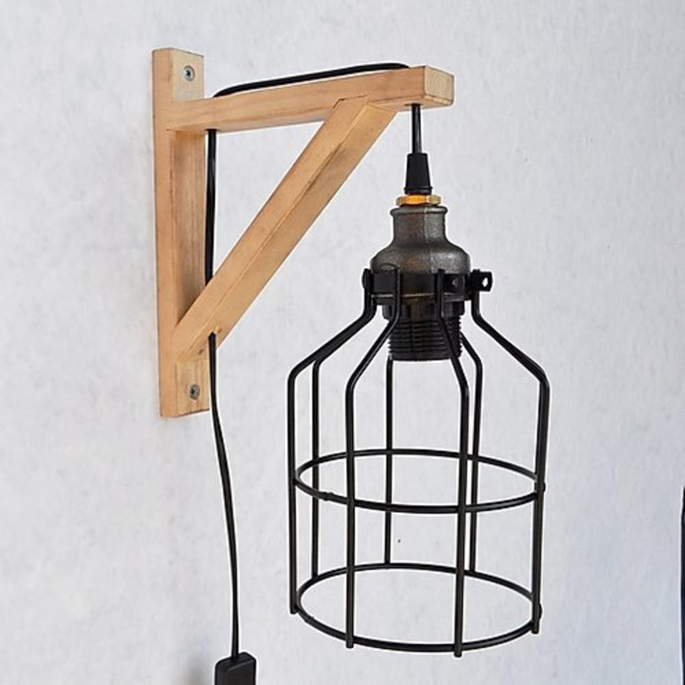 Moderne wandlamp hout zwart 1 x E27 fitting - zijaanzicht
