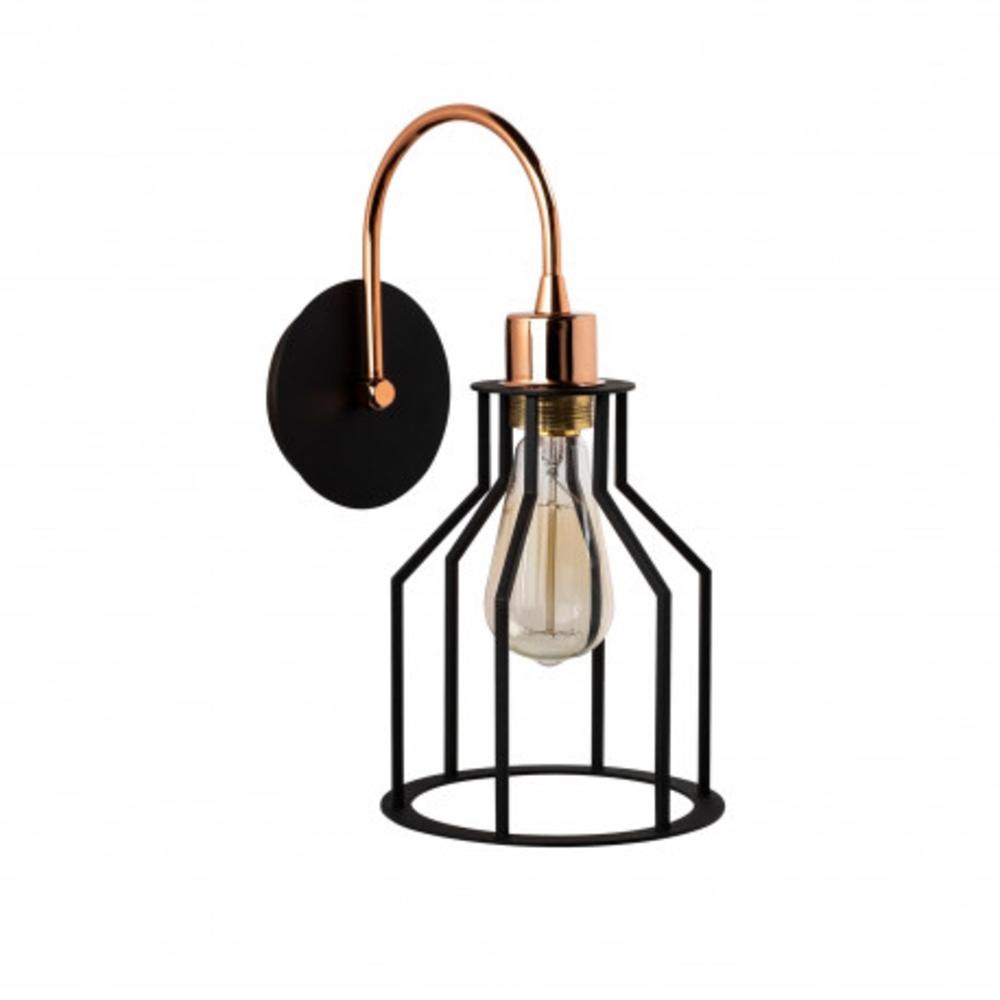 Wandlamp zwart 1 x E27 fitting modern - aanzicht zijkant