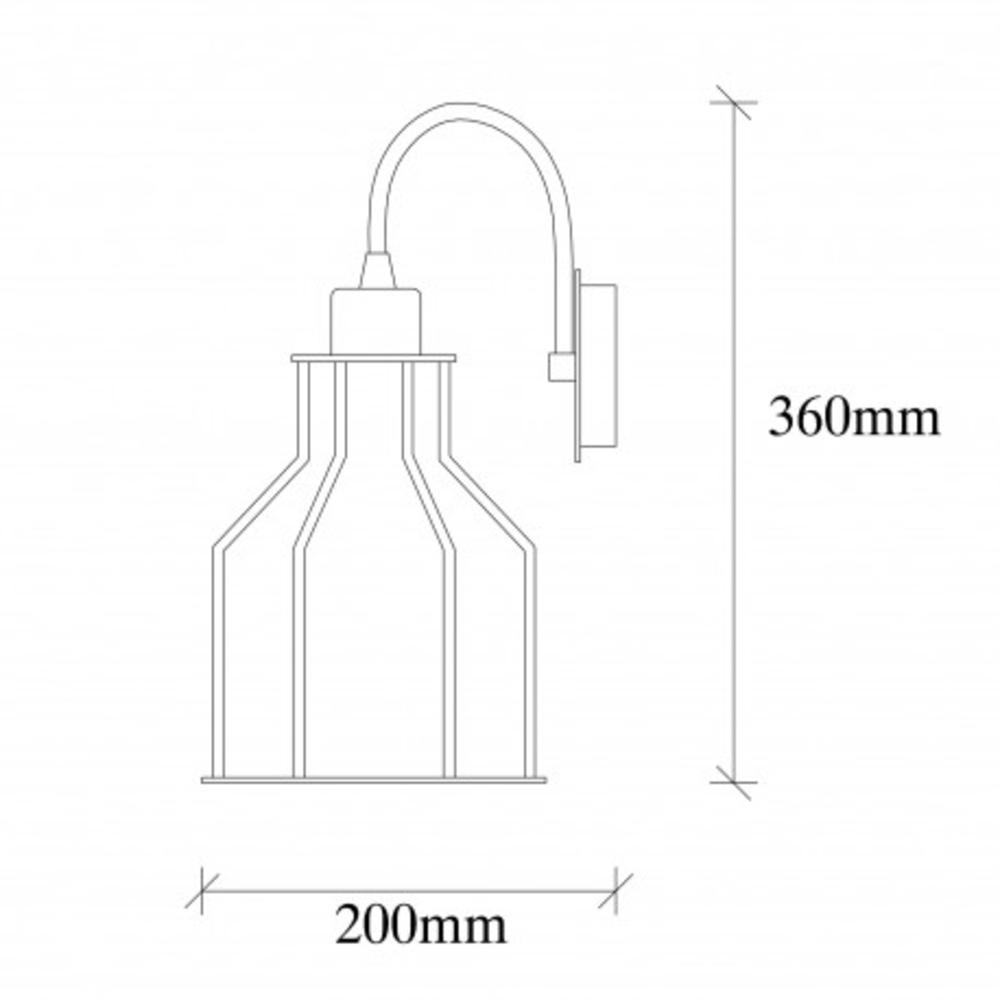 Wandlamp zwart 1 x E27 fitting modern - afmetingen