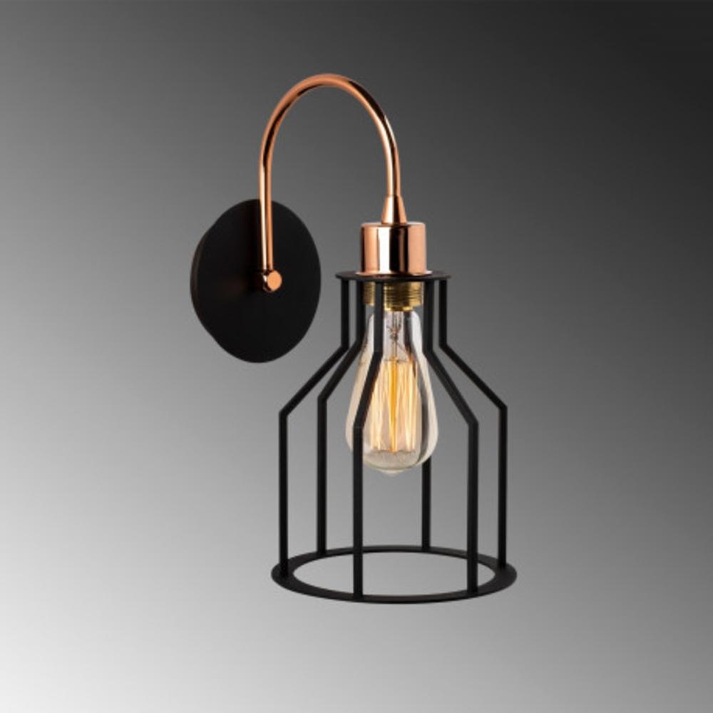 Wandlamp zwart 1 x E27 fitting modern - grijze achtergrond